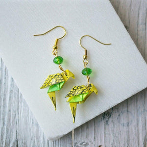 Origami Parakeet with Bead Earrings Uni-T