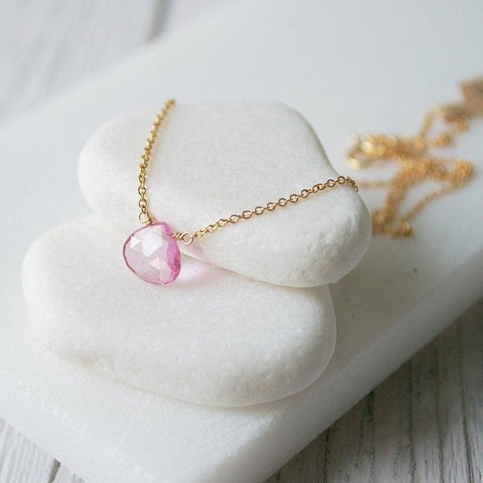 Pink Topaz Gemstone & Gold Fill Necklace Uni-T