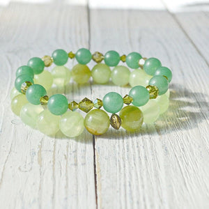 Semi Precious Stone and Crystal Beads Bracelets Uni-T