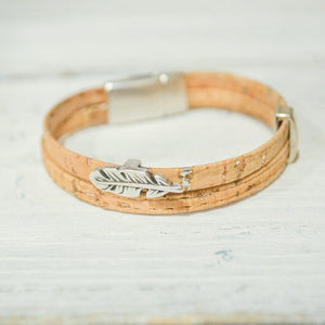 Cork Bracelets with Feather Charms | Eco-friendly Jewelry - Uni-T