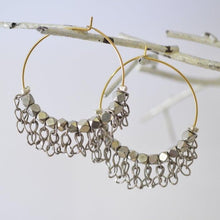 Pyrite Hoop with Jumbled Chains Earrings Uni-T