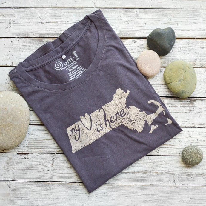 MY HEART IS HERE | Massachusetts State Map T-shirt | Eco Clothing | Urban T-shirts