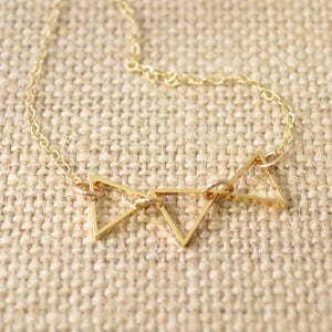 Tiny Three Mini Outline Triangles in Golden on Thin Gold Fill Chain Uni-T