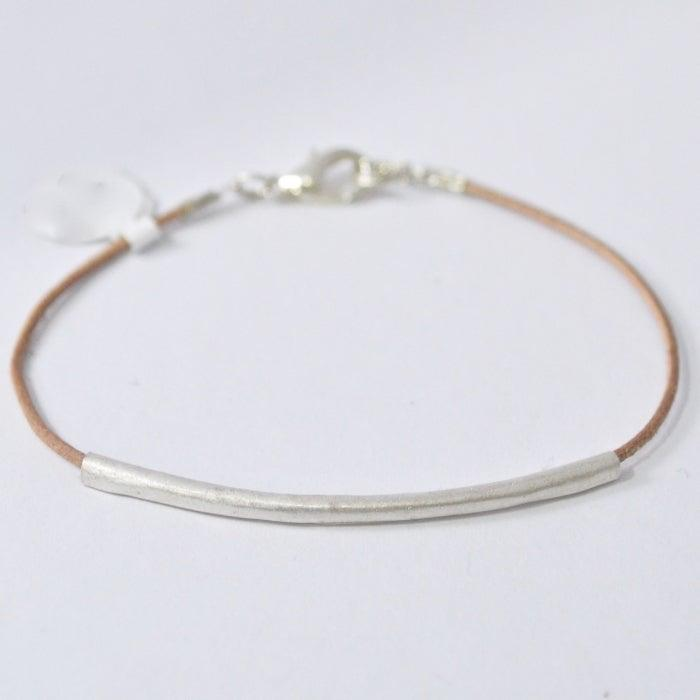 Precious Metal Clay Silver Bar on Suede Cord Bracelets Uni-T