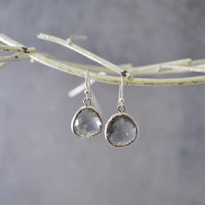 Mini Gem Drop Earrings - Silver Base Uni-T