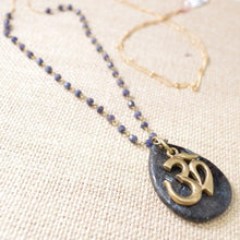 Long Om Necklace - Lolite & Gold Filled Chain - Uni-T