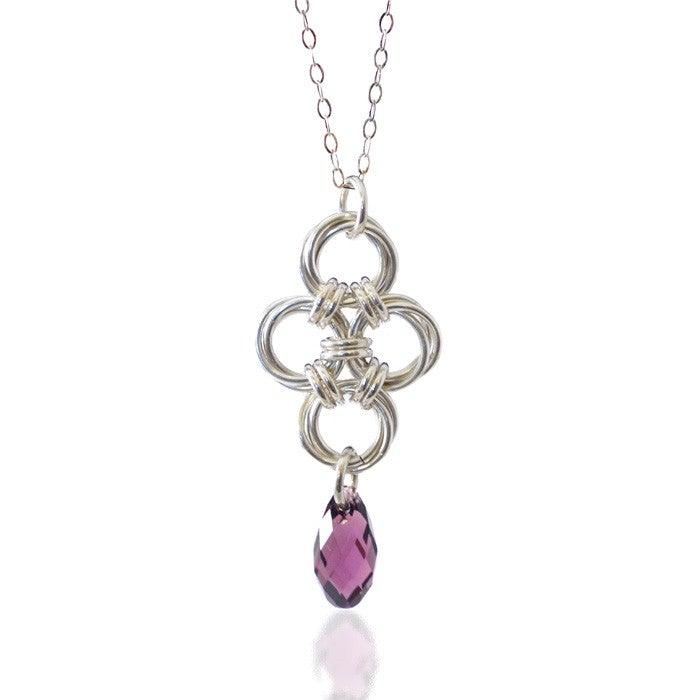 Swarovski Crystal and Hand Woven Sterling Silver Necklace Uni-T