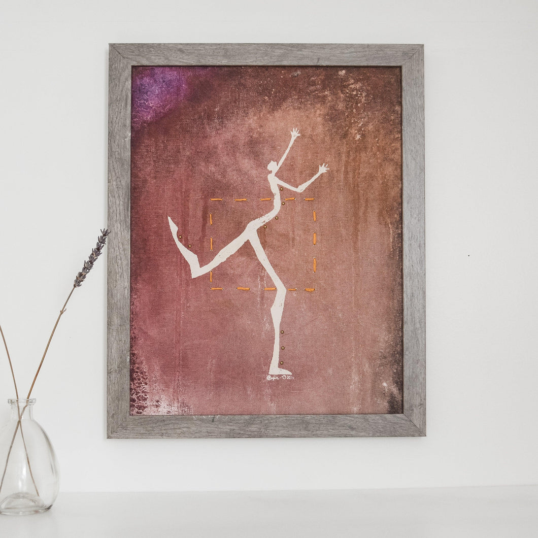 Original Framed Painting 11 X 14 - Dancing Outside the Box Uni-T