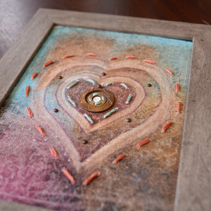 Original Mixed Media Framed Art 5X7 - My Heart To You... Uni-T