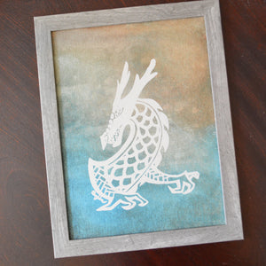 Original Framed Dragon Painting 9X12 Uni-T