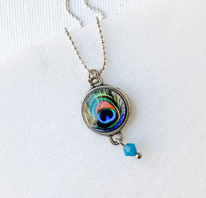 Peacock Glass Dome Necklace Uni-T