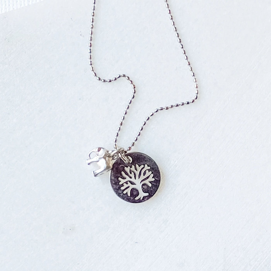 Tree & Elephant Stainless Steel Charm Necklace Uni-T