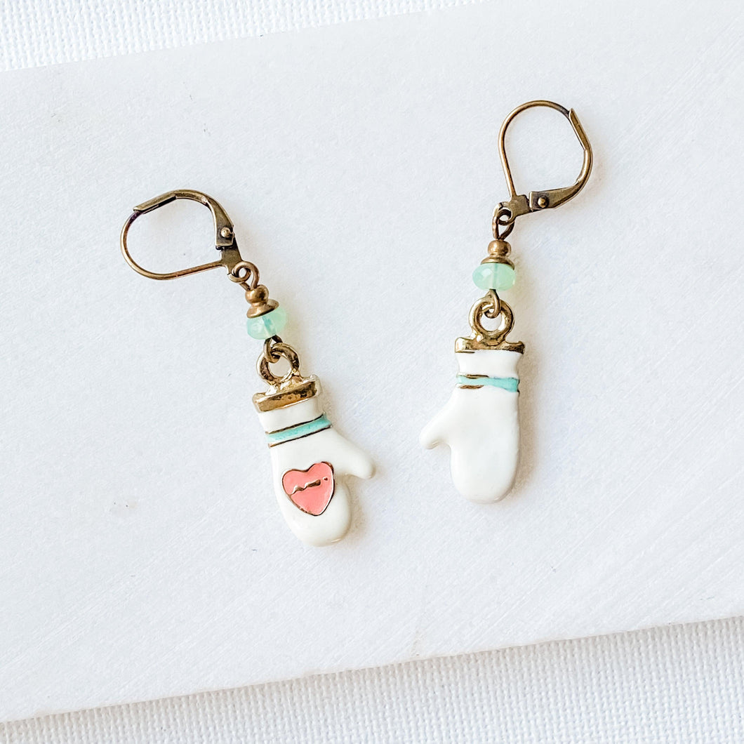 Enamel Charm Earrings - Mittens Uni-T