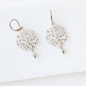 Rhodium Plated Earrings with Surgical Steel Ear Wire - Tree Branch Uni-T