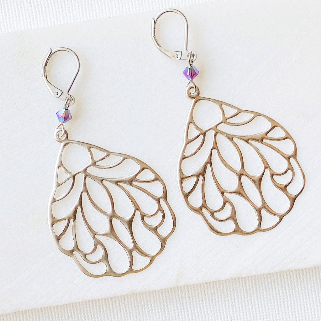 Rhodium Plated Earrings with Surgical Steel Ear Wire - Teardrop Uni-T