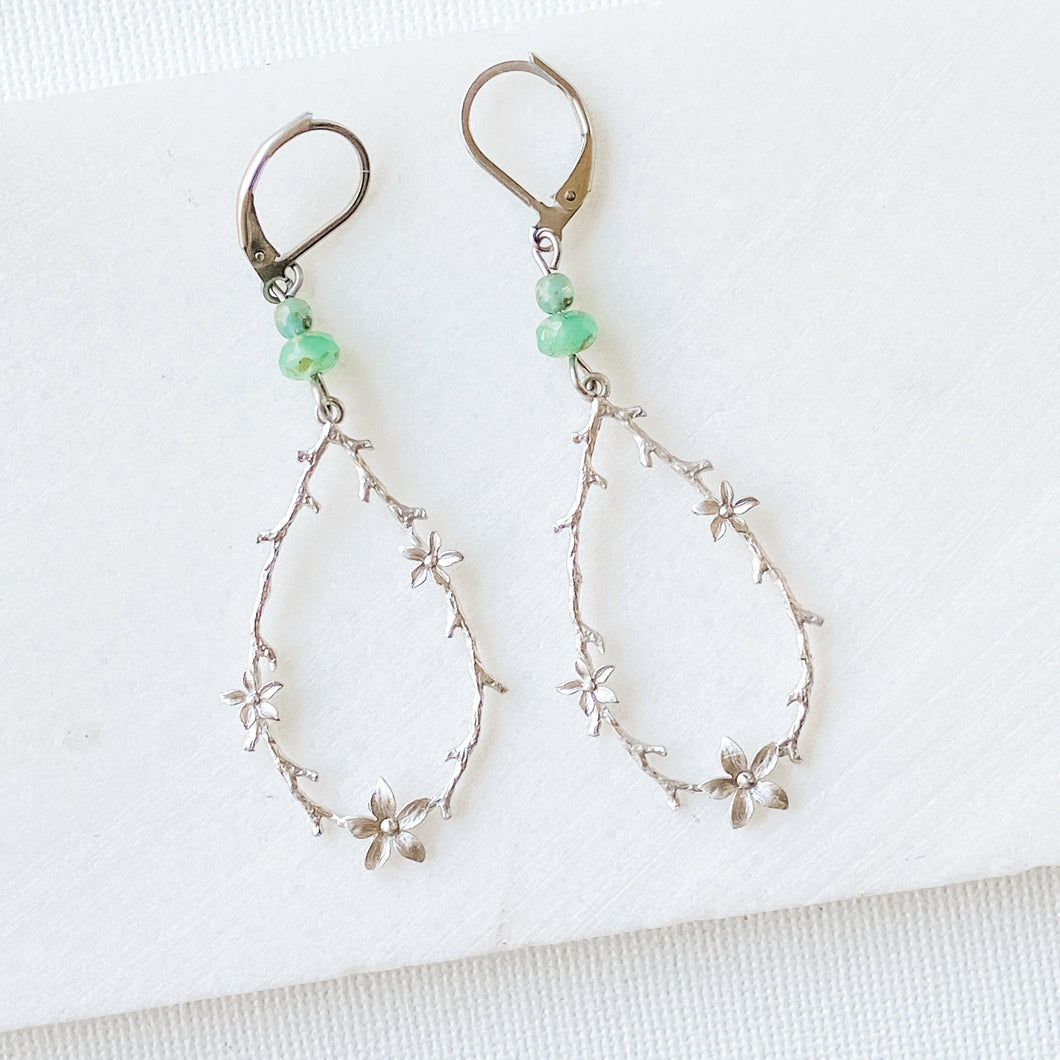 Rhodium Plated Earrings with Surgical Steel Ear Wire - Teardrop with Flowers Uni-T