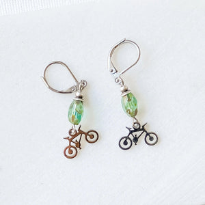 Bicycle Earrings with Beads, Surgical Steel Charm Earrings Uni-T