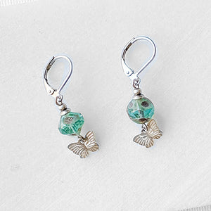 Rhodium Plated Butterfly Earrings with Turquoise Glass Beads - Surgical Steel Ear Wire Uni-T
