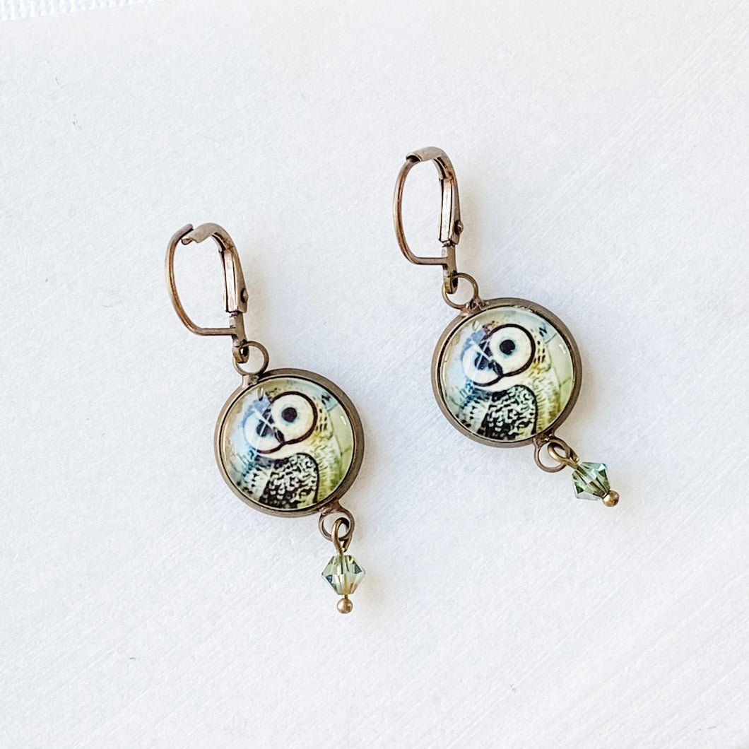 Glass Dome Owl Earrings Uni-T
