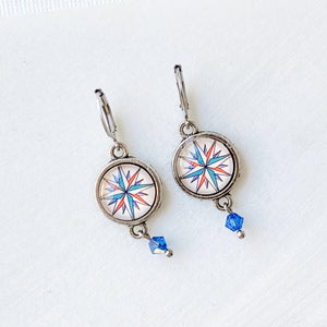 Glass Dome Compass Earrings Uni-T