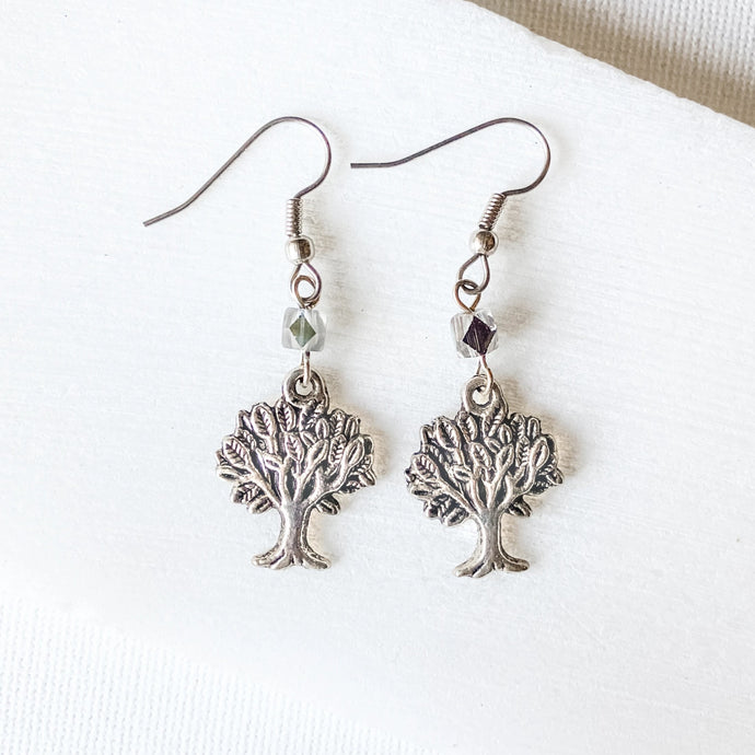 Tree Charm Earrings with Glass Beads