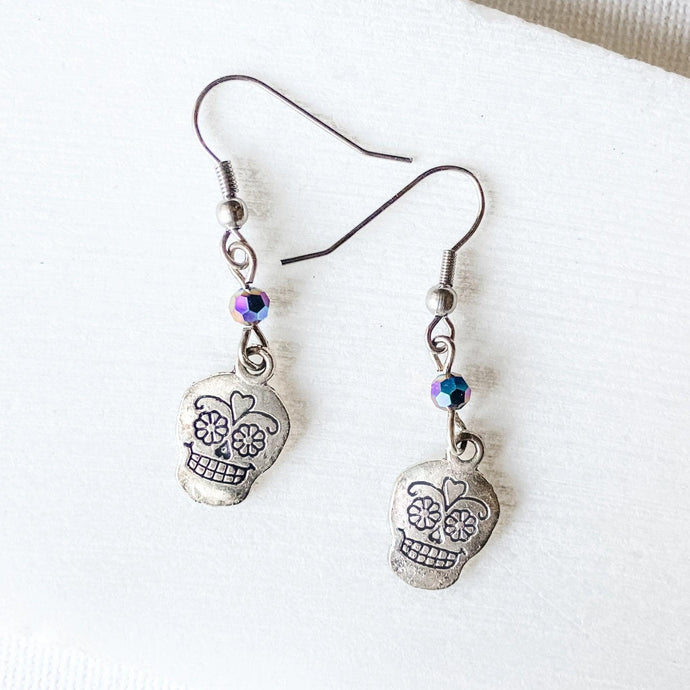 Scull Charm Earrings with Glass Beads