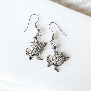 Sea Turtle Charm Earrings with RainbowGlass Beads