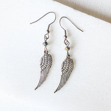 Angel Wings Charm Earrings with Rainbow Glass Beads Uni-T