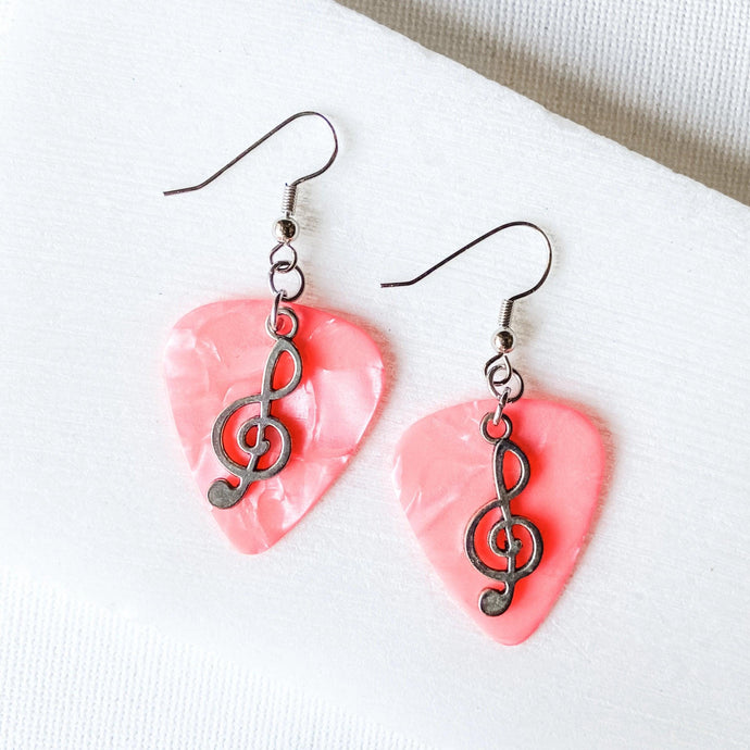 Pink Guitar Pick Earrings with Music Notes Uni-T