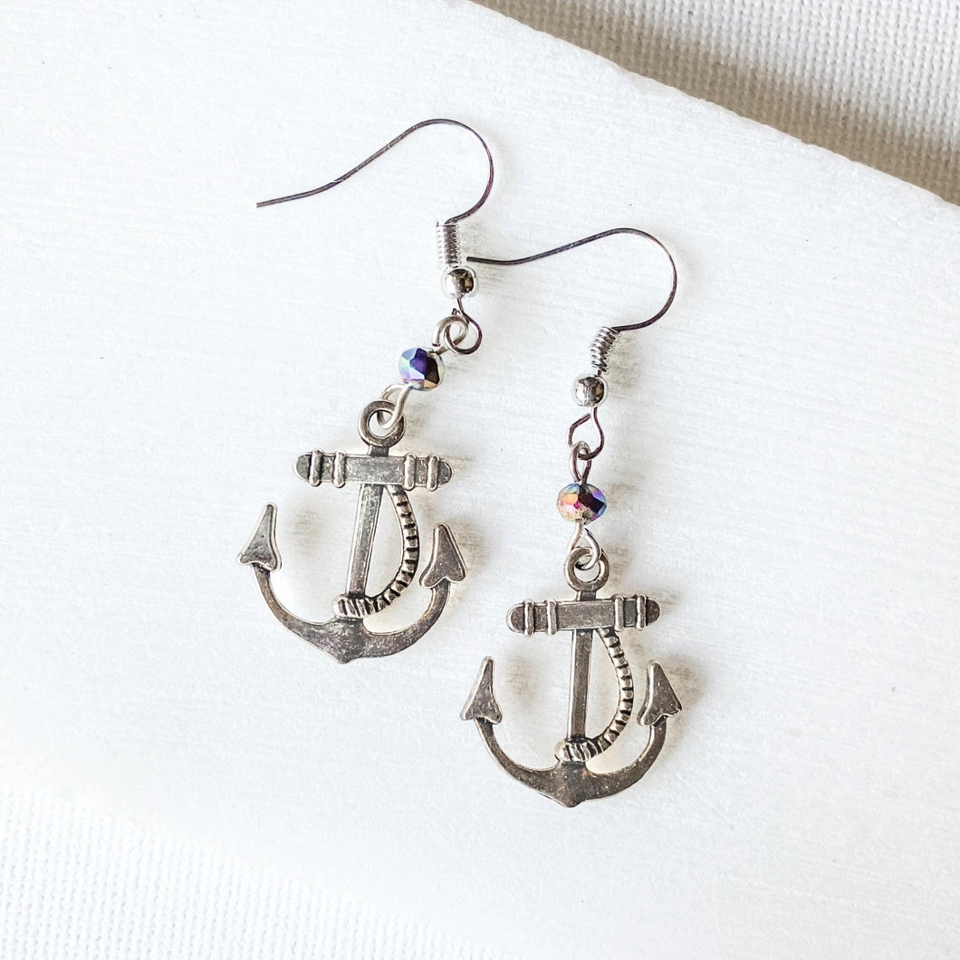 Anchor Charm Earrings with Glass Beads Uni-T