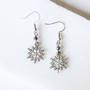 Snowflakes Charm Earrings with Glass Beads