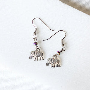 Elephant Charm Earrings with Rainbow Beads Uni-T