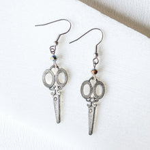 Scissors Charm Earrings with Rainbow Beads Uni-T