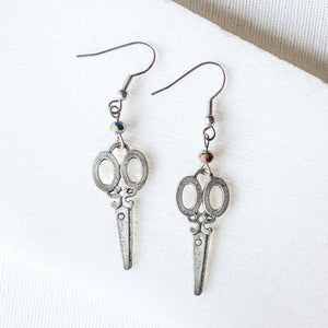 Scissors Charm Earrings with Rainbow Beads