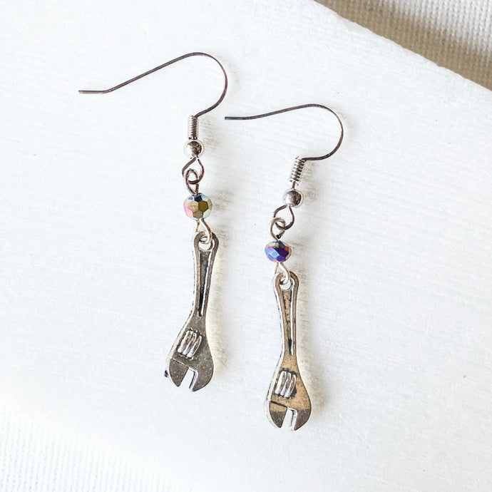 Wrench Charm Earrings with Rainbow Beads