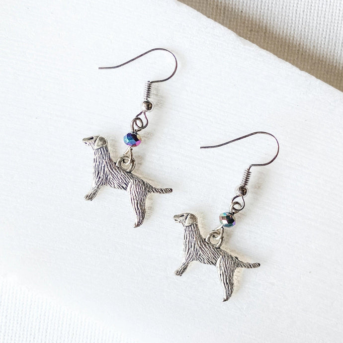 Dog Charm Earrings with Rainbow Glass Beads Uni-T