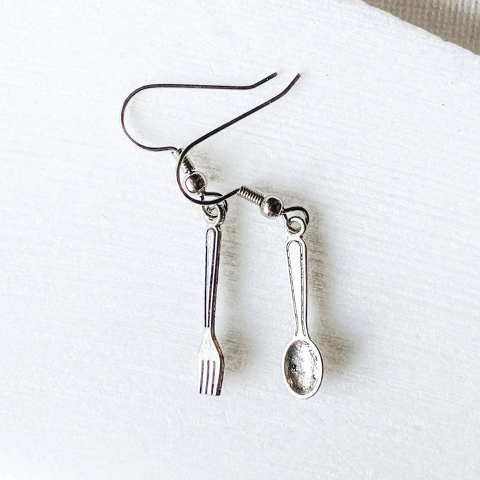 Spoon and Fork Charm Earrings