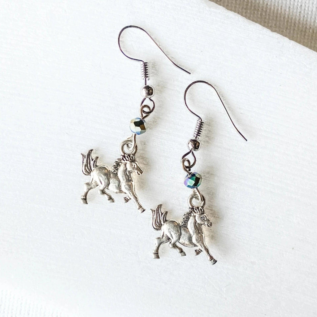 Horse Charm Earrings with Rainbow Glass Beads Uni-T
