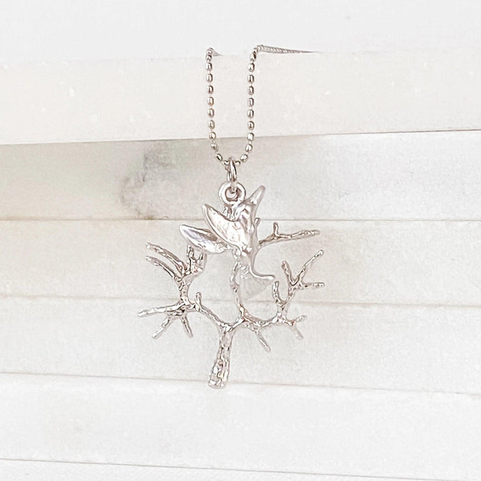 Rhodium Charm Necklace - Tree & Humming Bird Uni-T