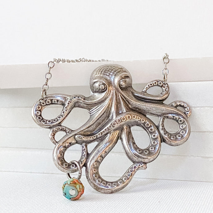 Octopus Necklace, Steampunk Style, Silver or Bronze Finish Uni-T
