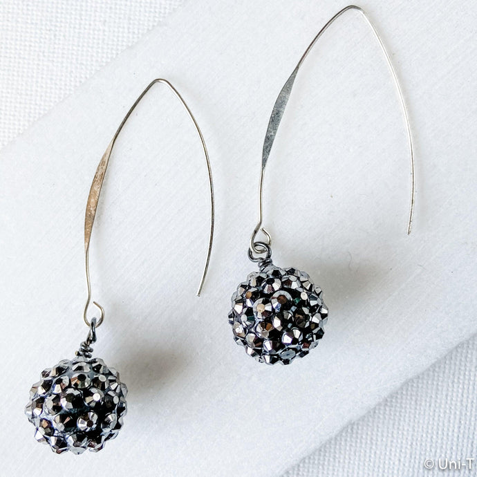 Pave Swarovski Ball Earrings with Long Hook Ear Wire Uni-T