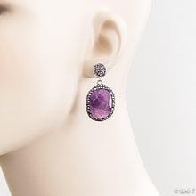 Pave Swarovski & Agate Stud Earrings Uni-T