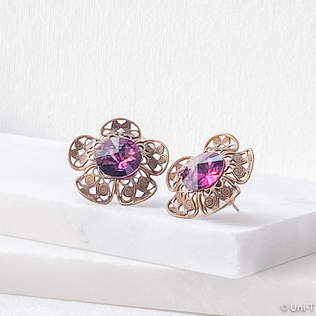 Crystal Flower Stud Earrings Uni-T