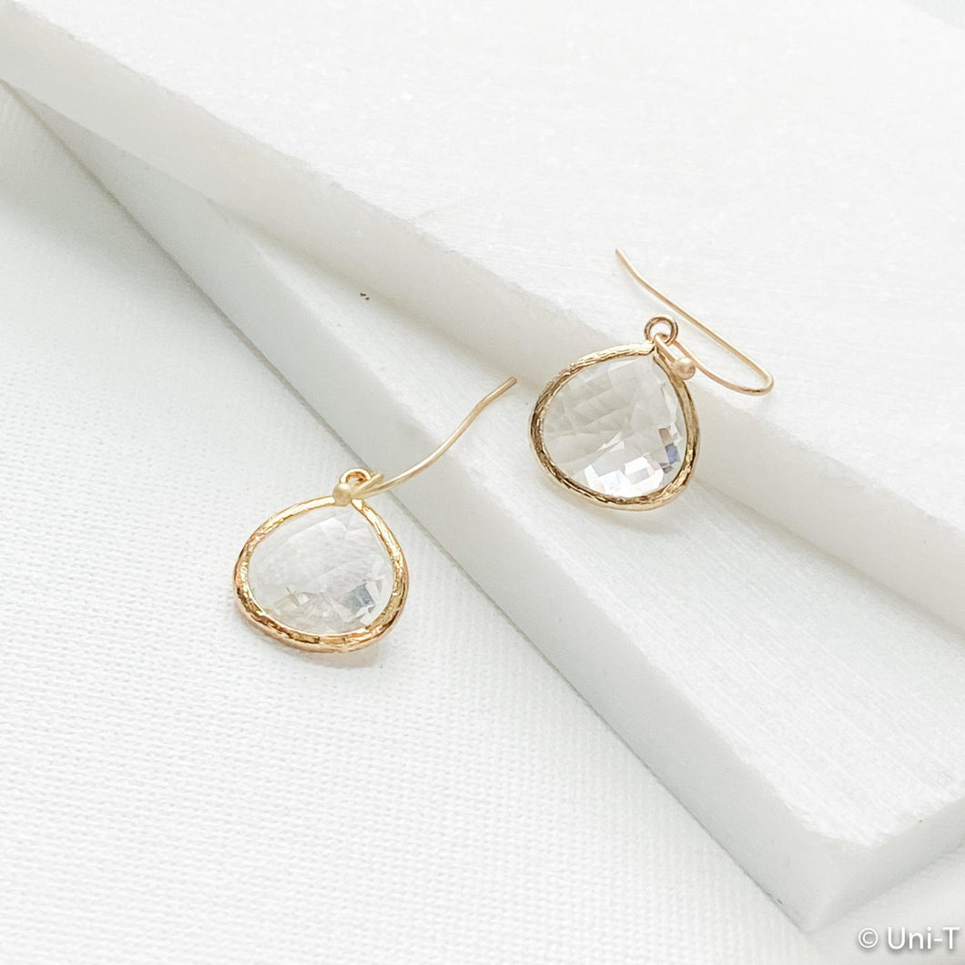 Clear Gem Drop Earrings Uni-T