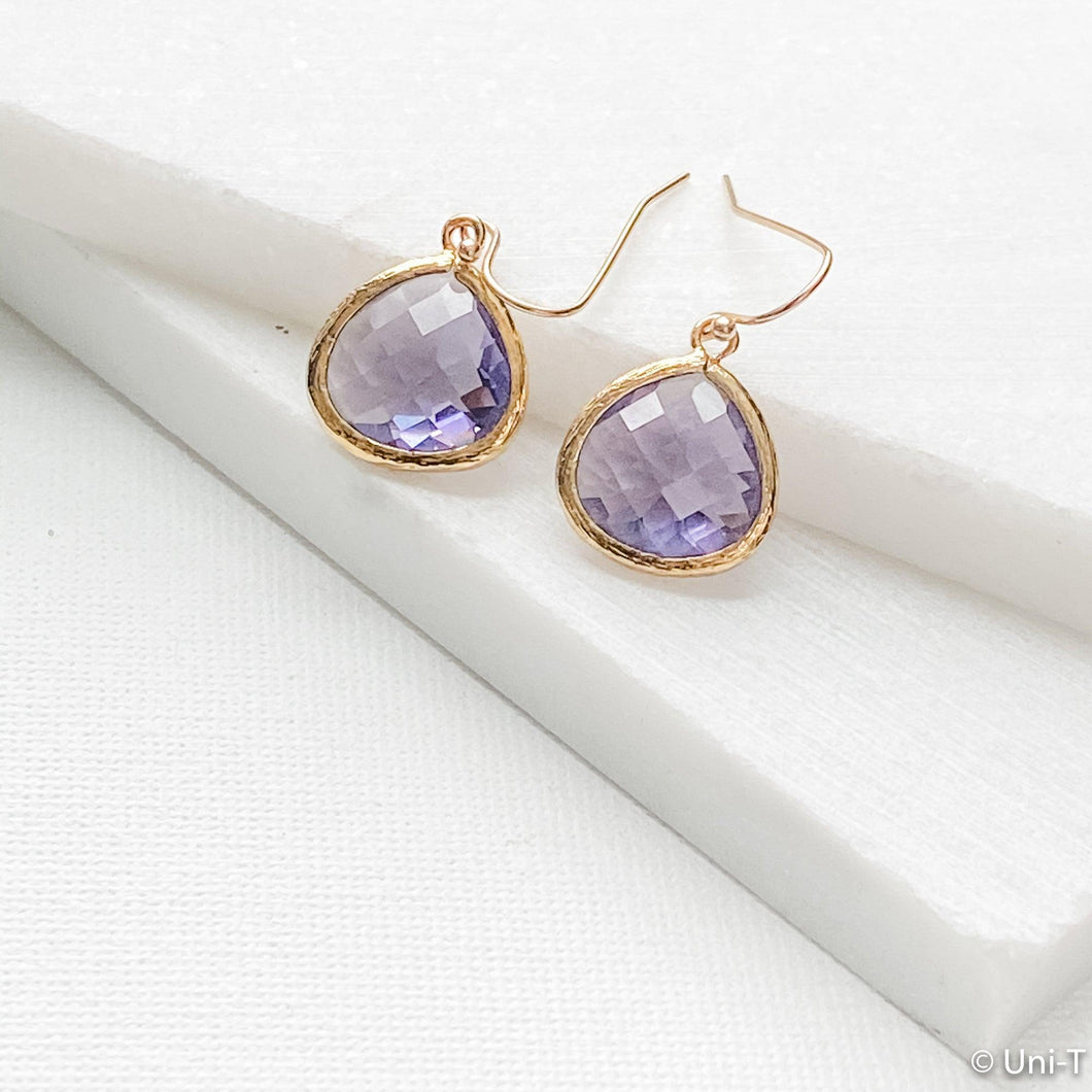 Purple Small Gem Drop Earrings Uni-T