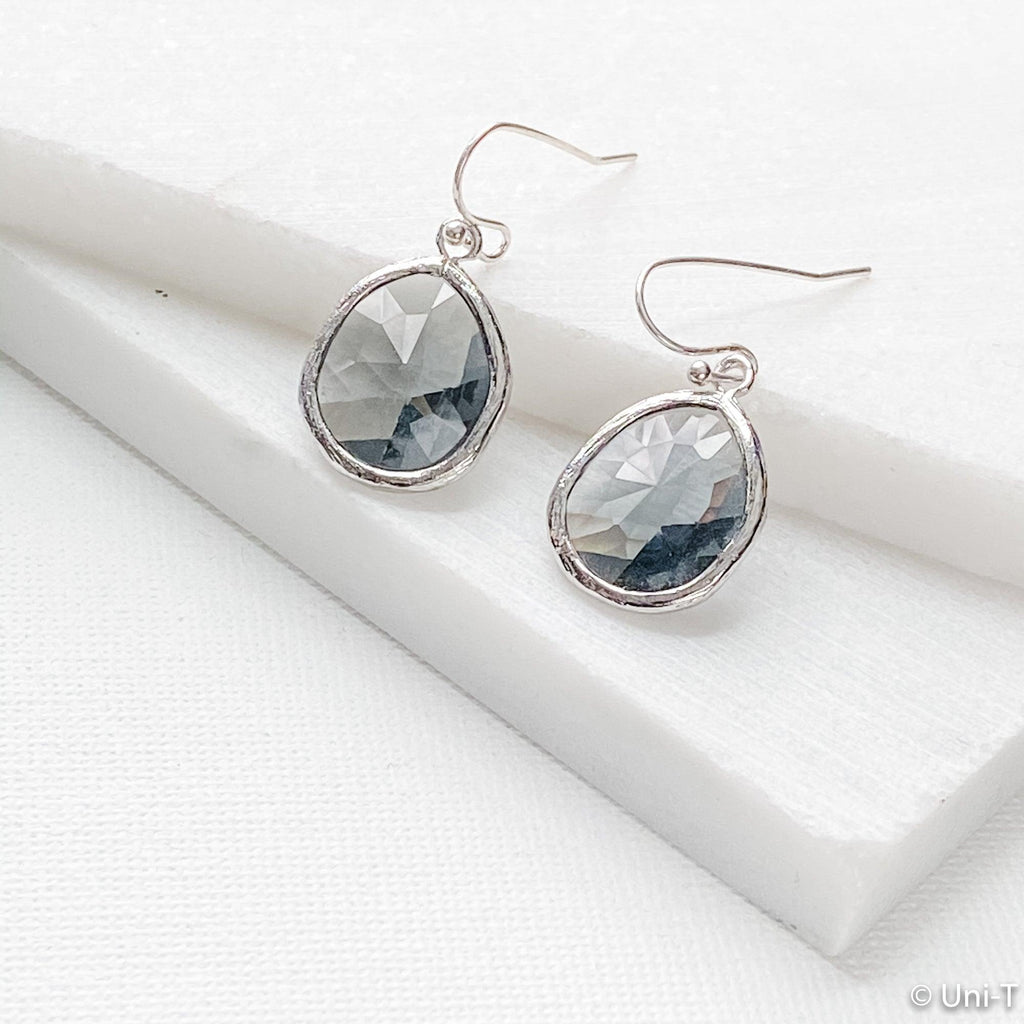 Smoky Small Gem Drop Earrings - Silver Base Uni-T