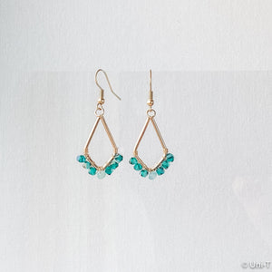 Kite Shape Earrings with Swarovski Crystals - Pink & Green Uni-T