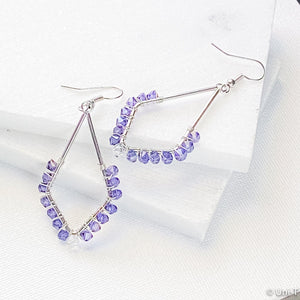 Kite Shape Earrings with Wrapped Swarovski Crystals - Blue, Purple & Cobalt - Large Uni-T