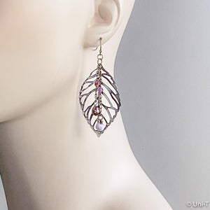 Brass Filigree Leaf Earrings with Glass Beads Uni-T