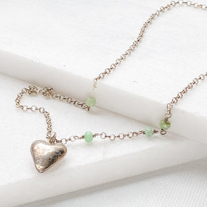 Heart Charm with Tiny Bead on Oxidized Sterling Silver Necklace Uni-T